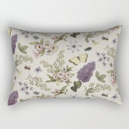 spring flowers with butterfly and beetles II Rectangular Pillow