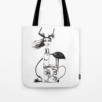 alice wonderland Tote Bags featuring Wonderland by lesinfin