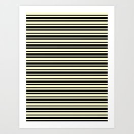 Cream Yellow and Black Horizontal Var Size Stripes Art Print