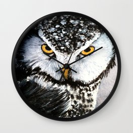Large Black And White Owl  Wall Clock