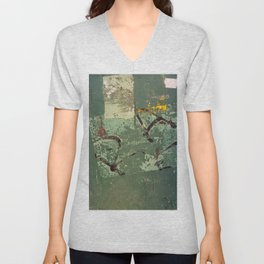 Urban Abstract in Green Unisex V-Neck