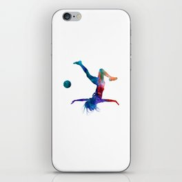 Woman soccer player 08 in watercolor iPhone Skin