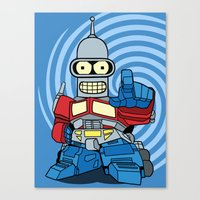 bender Canvas Prints featuring Optimus Bender by darko888