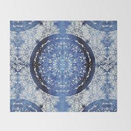 Boho Brocade Blue Mandalas Throw Blanket