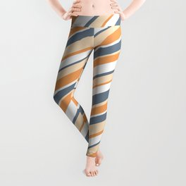 Slate Gray, Bisque, Brown & White Colored Stripes/Lines Pattern Leggings