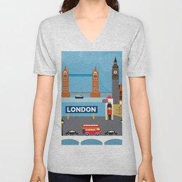 London, England - Collage Illustration by Loose Petals Unisex V-Neck