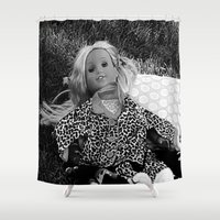 concert Shower Curtains featuring Doll At Rock Concert by Jeffrey J. Irwin