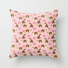 English Bulldog donuts funny pet portrait cute gift for dog person dog lover bulldog owner gifts Throw Pillow
