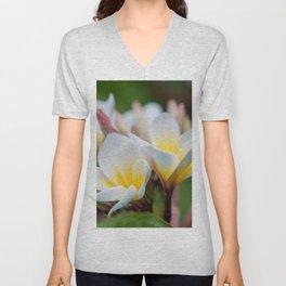 White Spring Flower Unisex V-Neck