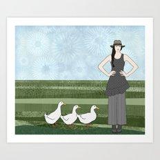 Pekin duck lady Art Print