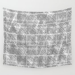 White and Black Distressed Diagonal Lines Pattern Vintage Unique Artistic Style Design Wall Tapestry