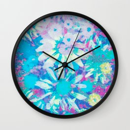 far out! floral tie dye Wall Clock