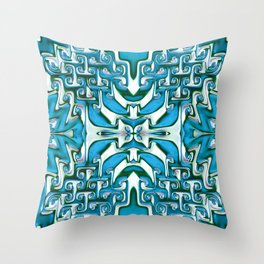Blue and White Spiral Bends Throw Pillow