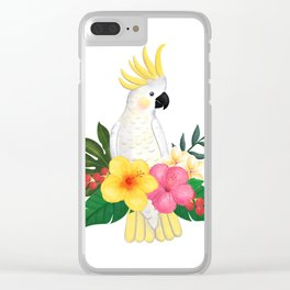 Tropical Cockatoo Floral Watercolor Clear iPhone Case