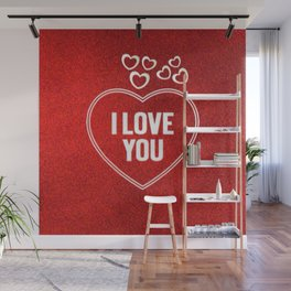 Lovely Hearts red Wall Mural