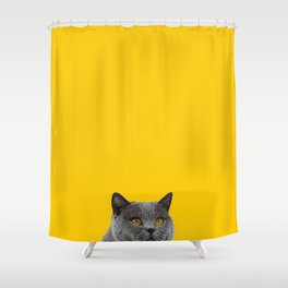 British Short-haired Cat Saffron Yellow Home Decor Pet Lovers Art Grey British Shower Curtain