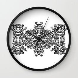 black and white vintage pattern I Wall Clock