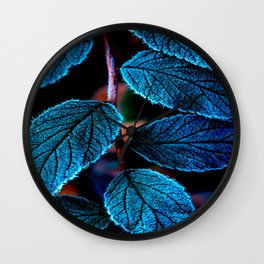 Peacock Blue Leaves Nature Background #decor #society6 #buyart Wall Clock