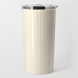 Classic Small Buttercup Yellow Pastel Butter French Mattress Ticking Double Stripes Travel Mug