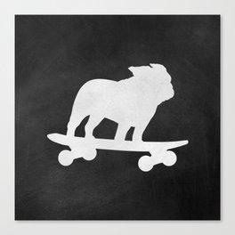 Extreme Sporting Breed | Skateboarding Bulldog Canvas Print