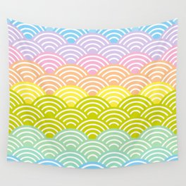 Seigaiha or seigainami literally means blue wave of the sea. rainbow pattern abstract scale Wall Tapestry