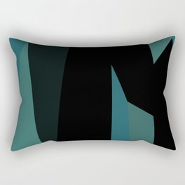 teal and black abstract Rectangular Pillow