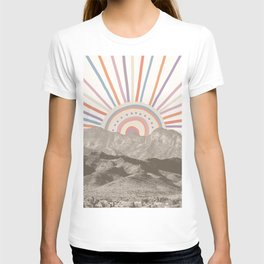 Summerlin Mountain Up // Abstract Vintage Mountains Summer Sun Surf Beach Vibe Drawing Happy Wall Ha T-shirt