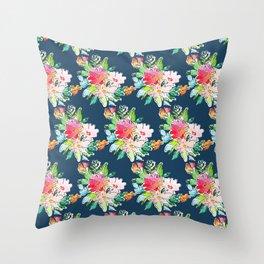Watercolor Floral Bundles on Blue Throw Pillow