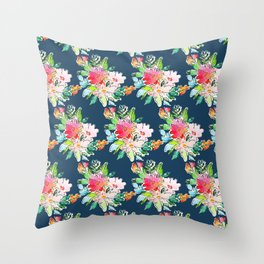 Watercolor Floral Bundles on Blue Throw Pillow