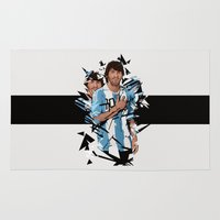 messi Area & Throw Rugs featuring Football Legends: Lionel Messi Argentina by Akyanyme