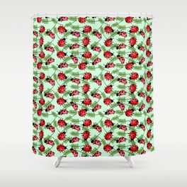 LadyBug and Leaf Summer Pattern Shower Curtain