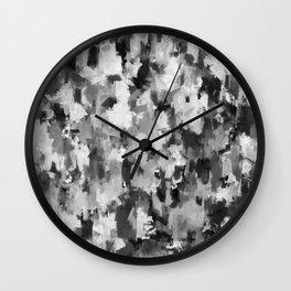 black and white pattern - paint brush design Wall Clock