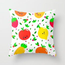 Cute & Whimsical Fruit Pattern with Kawaii Faces Throw Pillow