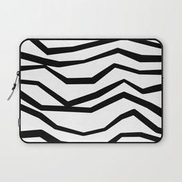 Black White Wavy Zig Zag Stripes Laptop Sleeve
