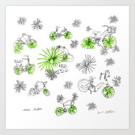 Nine Bikes Art Print