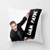 liam payne Throw Pillows featuring Liam Payne by girllarriealmighty