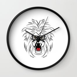 Roaring cool lion with glasses shows the boss Wall Clock