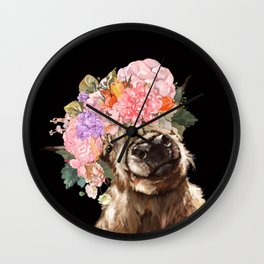 Highland Cow With Flower Crown Black Wall Clock