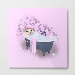 Hedgehog Bubble Bath Metal Print