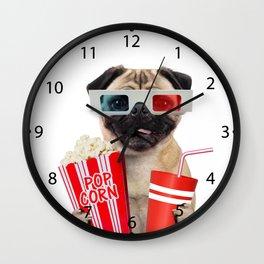 Pug watching a movie Wall Clock