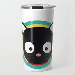 Black Cat with Green Circle Travel Mug