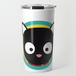 Black Cat with Green Circle Travel Mug