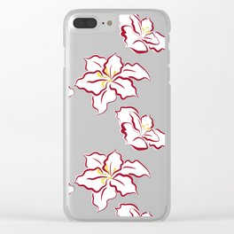 Poinsettia pattern - white Clear iPhone Case