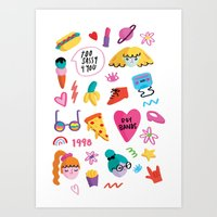 90s Art Prints featuring 90s by melissa chaib