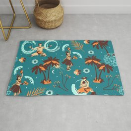 Hawaiian fire dancers Rug