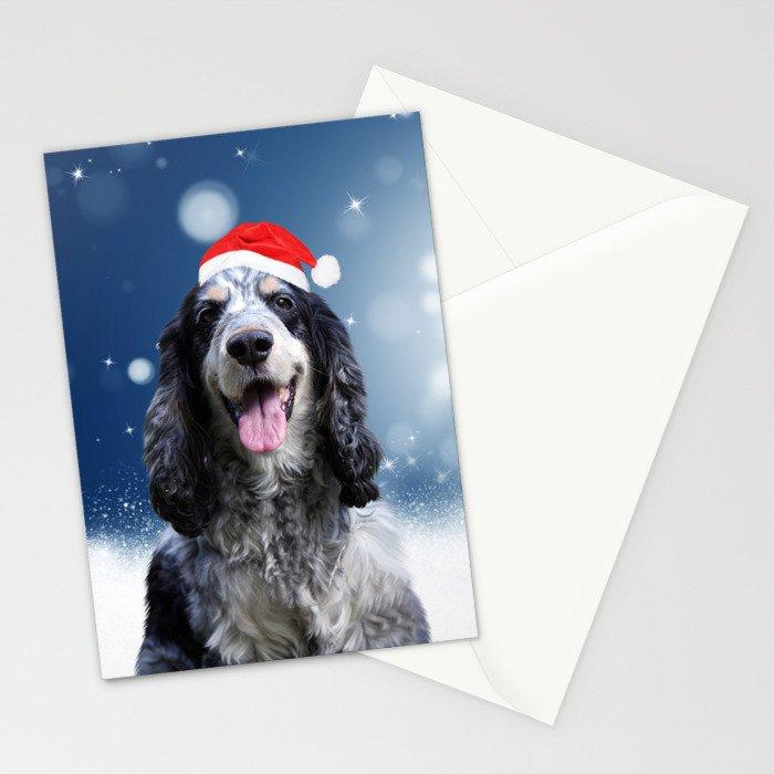Cute Cocker Spaniel Dog Snow Stars Blue Christmas Stationery Cards