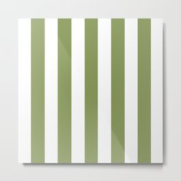 Turtle green - solid color - white vertical lines pattern Metal Print