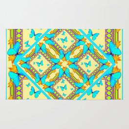 Western Style Turquoise Butterflies Creamy Gold Patterns Art Rug
