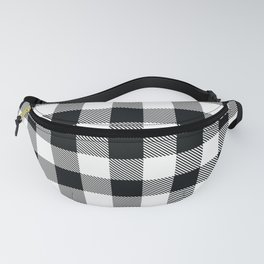 Buffalo Check Black White Plaid Pattern Fanny Pack