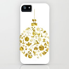 Golden Shimmering Christmas Ornament Bauble iPhone Case